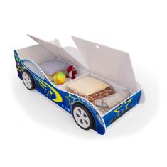 Детская кровать машина Синяя с ящиками