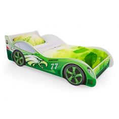 Детская кровать машина Зеленая с ящиками