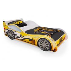 Детская кровать машина Желтая с ящиками